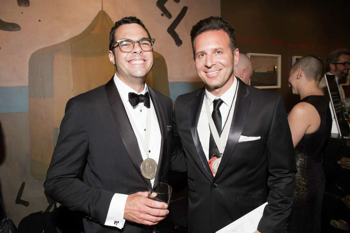 Aaron Franklin of Franklin Barbecue in Austin, Texas, and Steve Dolinsky of The Feed podcast at the James Beard Foundation awards on May 4, 2015, in Chicago.