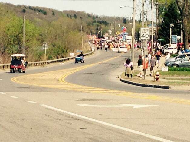 The parade for Sawyer Fredericks gets underway on May 6, 2015, in Fulton, N.Y. (Lori Van Buren/Times Union)