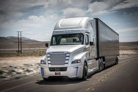 """Daimler Trucks` """"Infinite Inspiration"""" Technology Premiere took place on May 5th and 6th 2015 in Las Vegas. In a spectacular ceremony at Hoover Dam Daimler Trucks North America presented the Freightliner Inspiration Truck with Highway Pilot. It is the first autonomous driving truck licensed for public roads in Nevada."""