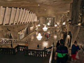 The Wieliczka Salt Mine, near Krakow, includes a huge underground chapel carved out of rock salt.