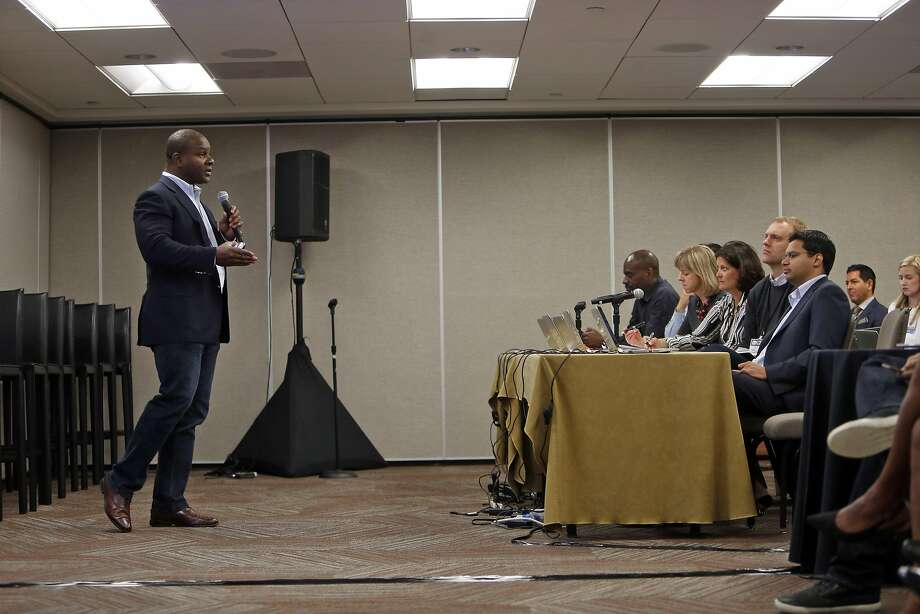Quarrio CEO KG Charles-Harris, gives his presentation during First Pitch Competition at Push Tech 2020 Summit in San Francisco , Calif., on Wednesday, May 6, 2015. Photo: Scott Strazzante, The Chronicle