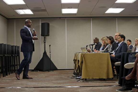 Quarrio CEO KG Charles-Harris, gives his presentation during First Pitch Competition at Push Tech 2020 Summit in San Francisco , Calif., on Wednesday, May 6, 2015.