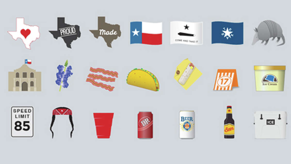 """Putting the """"Tex"""" in """"text message"""" A new line of Texas-centric emojis called TexMojis may soon be hitting smartphone app stores. (courtesy of Sean Campton / TexMojis)"""