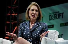 Republican presidential candidate Carly Fiorina, the former Hewlett-Packard chief executive, speaks at TechCrunch Disrupt NY, in New York, Tuesday, May 5, 2015. Fiorina and Hillary Rodham Clinton are bidding to become the first female U.S. president. (AP Photo/Richard Drew)