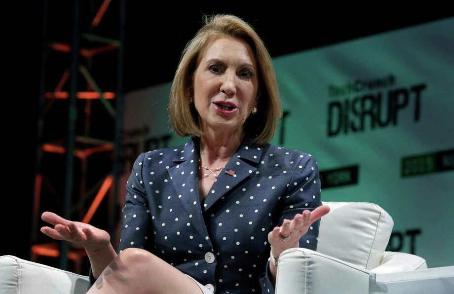 Republican presidential candidate Carly Fiorina, the former Hewlett-Packard chief executive, speaks at TechCrunch Disrupt NY, in New York, Tuesday, May 5, 2015. Fiorina and Hillary Rodham Clinton are bidding to become the first female U.S. president. (AP Photo/Richard Drew) Photo: Richard Drew / Associated Press / AP