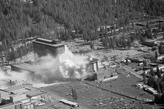 This is photo of the Harvey's Resort Hotel and Casino bombing, Stateline, Nevada at Lake Tahoe was taken by Chronicle photographer Fred Larson from a small plane piloted by another Chronicle photographer Peter Breinig.