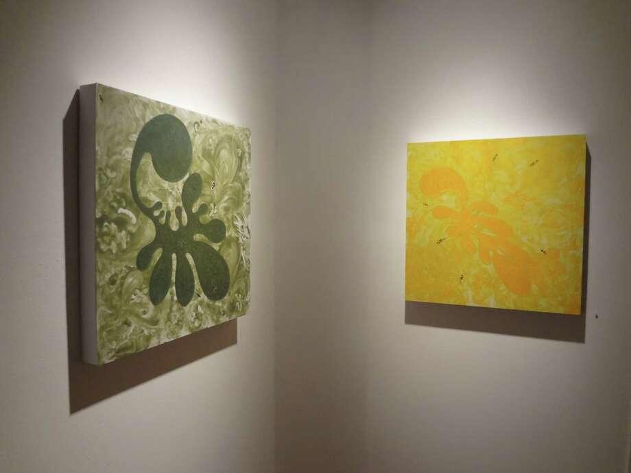 """La Forma en Verde"" (left) and ""La Forma en Amarilla"" are featured in ""Pleonasm"" by Estevan Arredondo at REM Gallery. Photo: Photo By Steve Bennett / Photo By Steve Bennett"
