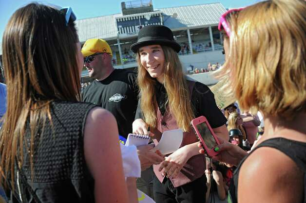 FultonvilleOs own Sawyer Fredericks greets and signs autographs for fans after performing at the Fonda Speedway in front of excited fans on Wednesday, May 6, 2015 in Fonda, N.Y. The 16-year-old singer/songwriter is one of the final six contestants on NBCOs show The Voice. (Lori Van Buren / Times Union) Photo: Lori Van Buren / 00031668A