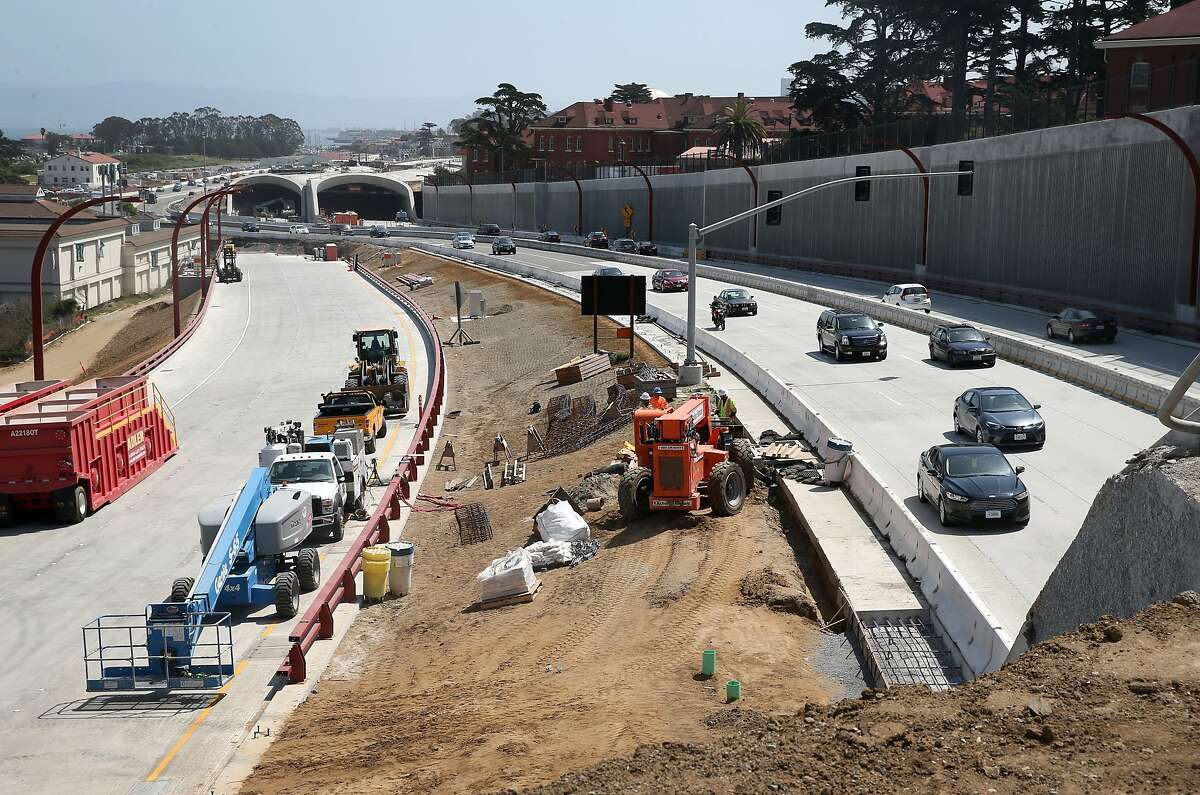 Commuters heading to and from the Golden Gate Bridge travel through the Presidio Parkway construction project as it nears completion in San Francisco, Calif. on Wednesday, May 6, 2015. Caltrans will shut down the roadway for an extended weekend to reroute traffic to the permanent configuration in both northbound and southbound directions.