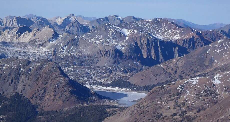 Saddlebag Lake viewed from Mount Dana in drought conditions —with no snowpack in the high Sierra Nevada. Photo: Kelly Clark