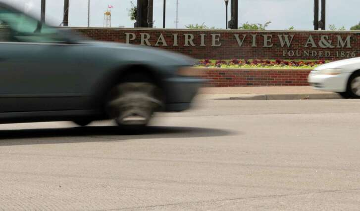 Traffic passing by the entrance of  Prairie View A&M University in Prairie View, Texas, Wednesday May 6, 2015.