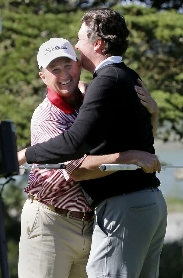 Todd White (left) and Nathan Smith hugged after their victory was conceded on the 13th hole. Nathan Smith and Todd White won the U.S. Amateur Four-Ball Championship Wednesday May 6, 2015. The first U.S. Amateur Four-Ball Championship is being played at the Olympic Club in San Francisco, Calif. Photo: Brant Ward, The Chronicle