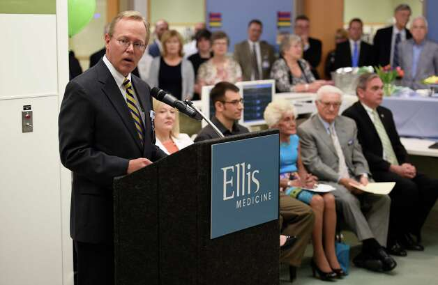 Paul Milton, president and CEO of Ellis Medicine speaks during the celebration of the completion of the new Neil and Jane Golub Center for Emergency Care at Ellis Hospital Wednesday morning May 6, 2015 in Schenectady, N.Y.     (Skip Dickstein/Times Union) Photo: SKIP DICKSTEIN / 00031729A