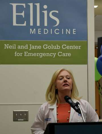 Emergency Department supervisor Joanne McDonough speaks during the celebration of the completion of the new Neil and Jane Golub Center for Emergency Care at Ellis Hospital Wednesday morning May 6, 2015 in Schenectady, N.Y.     (Skip Dickstein/Times Union) Photo: SKIP DICKSTEIN / 00031729A