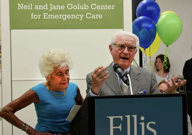 Jane and Neil Golub speak about their experiences during the construction of the new emergency department during the celebration of the completion of the new Neil and Jane Golub Center for Emergency Care at Ellis Hospital Wednesday morning May 6, 2015 in Schenectady, N.Y.     (Skip Dickstein/Times Union) Photo: SKIP DICKSTEIN / 00031729A