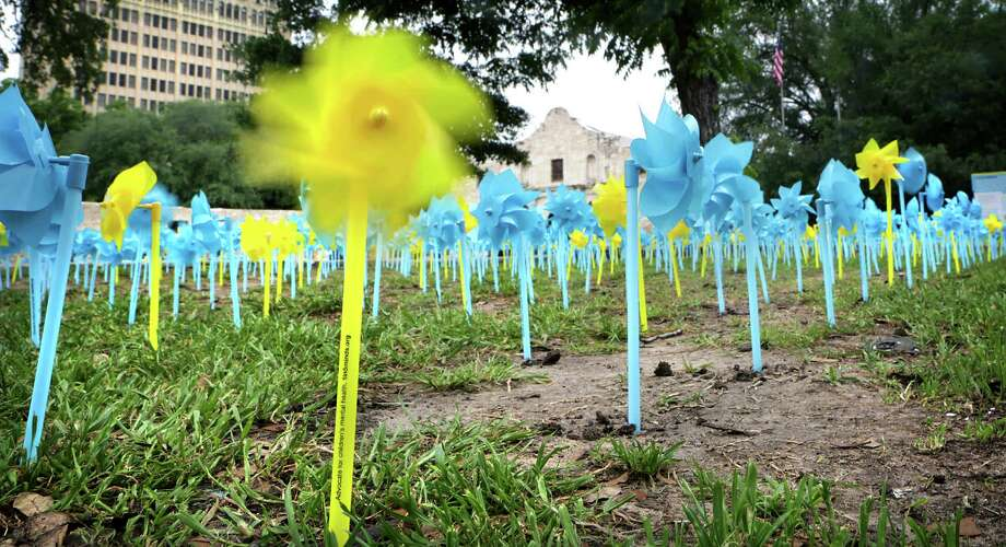 May Mental Health Awareness Month, 3,000 pinwheels were placed on the battleground of The Alamo serving as symbols of hope for children suffering from mental illness, on Wednesday, May 6, 2015.  The One in Five Minds campaign, sponsored by clarity Child Guidance Center, presented mental health specialists and public leaders, including Judge Luz Elena D. Chapa of the Fourth Court of Appeals, whose brother Michael suffers from mental illness. A yellow pinwheel spins in the breeze, representing one in five children who struggle with mental illness. Photo: Bob Owen, Staff / San Antonio Express-News / San Antonio Express-News