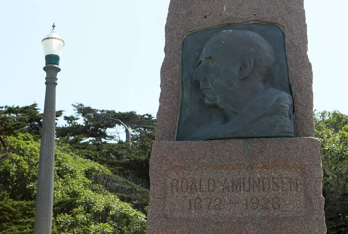 A Roald Amundsen monument is seen near Beach Chalet, Wednesday, May 6, 2015, in San Francisco, Calif. Norwegian explorer Roald Amundsen's ship, the Gjoa, was beached in S.F. for more than 60 years. It is now gone and the lone remaining sign of its presence is the 10-foot-tall granite monument.