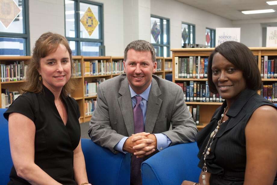 Westbury HS Principal Jason Catchings with Associate Principals Frances Brooks and Stephanie Crook.  Photo By R. Clayton McKee Photo: R. Clayton McKee, Freelance / © R. Clayton McKee