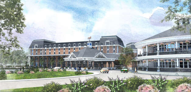 Artist rendition of the proposed hotel at the Saratoga Casino and Raceway.  It was announced that construction will begin soon on the $34 million hotel addition.  (Paul Buckowski / Times Union)