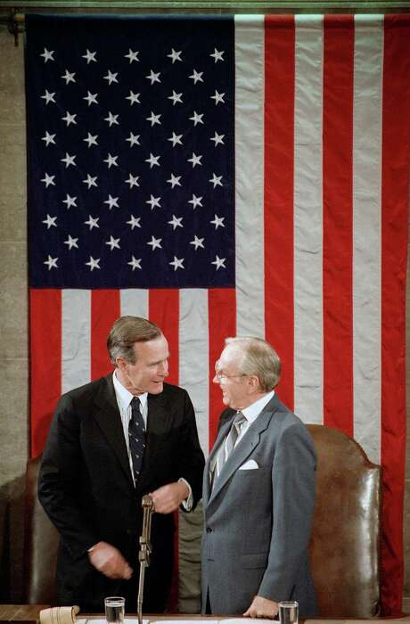 In 1989, President-elect George H.W. Bush was introduced to a joint session of Congress by House Speaker Jim Wright. Photo: Rick Bowmer / Associated Press / AP