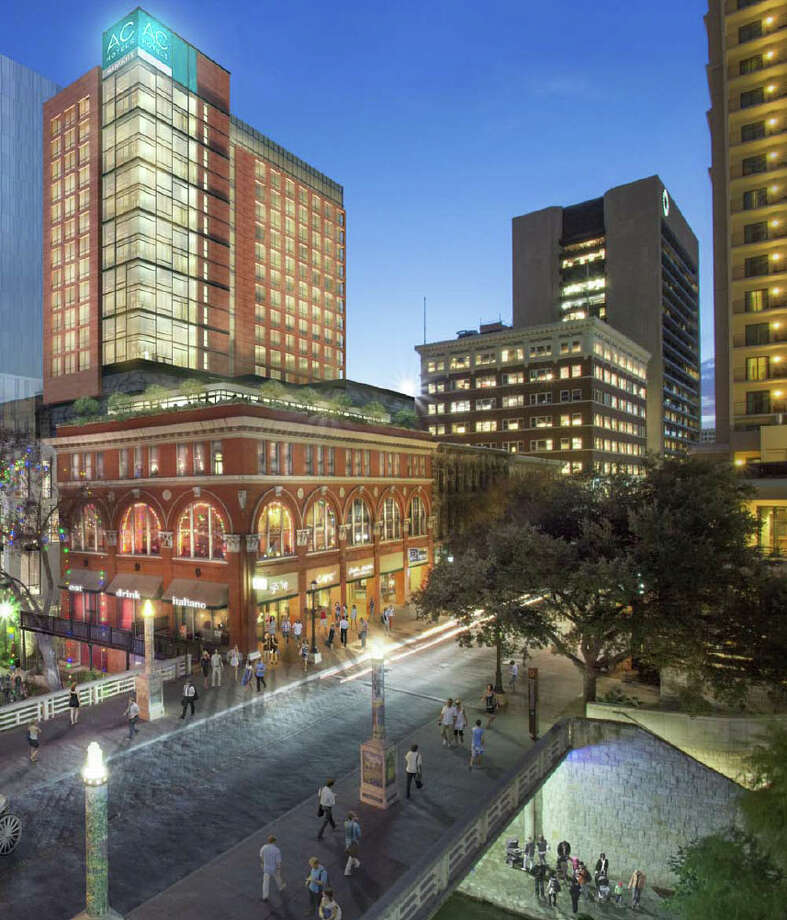 A 252-room AC Hotel by Marriott is being introduced for much of the River Walk block between Houston and Commerce streets. A handful of buildings, including the former Solo Serve department store, would be razed or partially demolished to make room for the new development. Photo: Woodbine Development /Courtesy Illustration