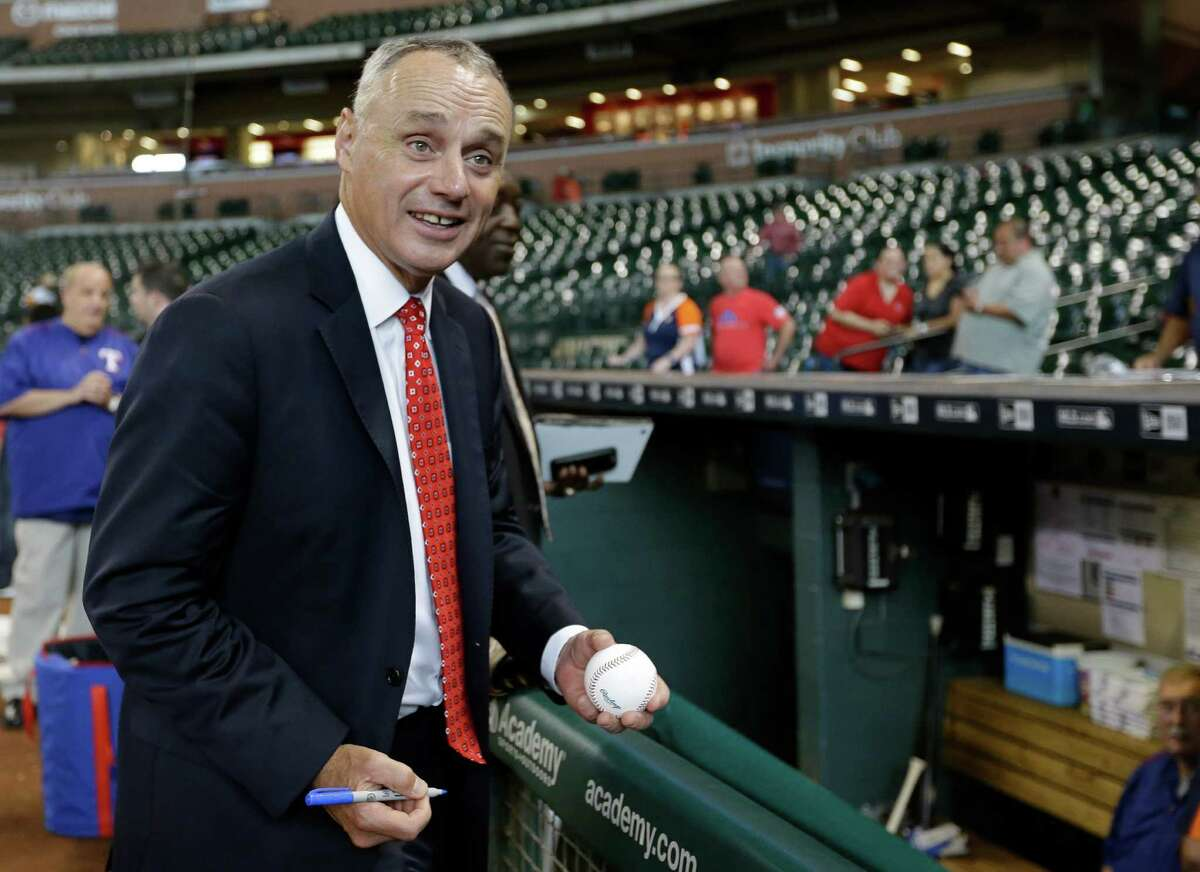 Rob Manfred made his first visit to Minute Maid Park as commissioner on Wednesday.