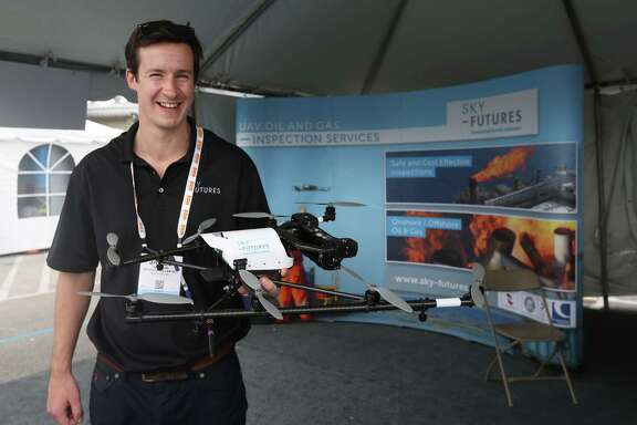 James Harrison, CEO of Sky-Futures, shows one of the British company's drones. Each drone costs about $50,000, Harrison says, mostly for the high-definition onboard camera and the software that keeps the craft stable in winds up to 33 mph.