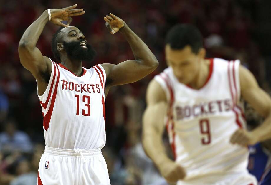 Houston Rockets guard James Harden (13) and guard Pablo Prigioni (9) react to a Harden 3-pointer against the Los Angeles Clippers during Game 2 in a second-round NBA basketball playoff series Wednesday, May 6, 2015, in Houston. The Rockets won 115-109. (AP Photo/Houston Chronicle, James Nielsen) Photo: James Nielsen, Associated Press