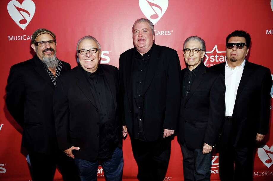 """Steve Berlin (from left), Conrad Lozano, David Hidalgo, Louie Perez and César Rosas of Los Lobos have inspired and helped the TexManiacs. Berlin helped in the studio with """"Americano Groove."""" Photo: Larry Busacca /Getty Images / 2015 Getty Images"""