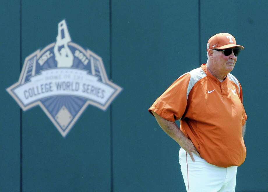 Texas coach Augie Garrido surveys the playing field during practice for the 2014 College World Series at TD Ameritrade Park in Omaha, Neb. Photo: Dave Weaver /Associated Press / FR67562 AP