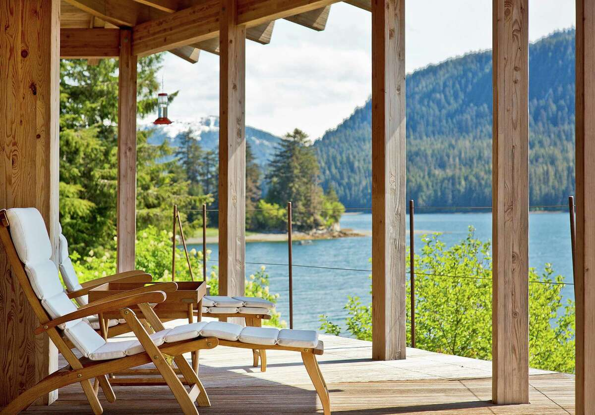 The porch of the chalet overlooking the water.