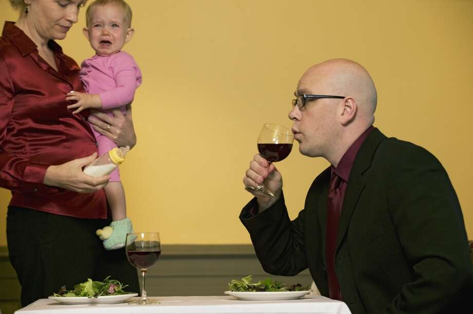 Dinner at a fancy restaurant with a fussy baby. Photo: Keith Brofsky, Getty Images/Uppercut RF