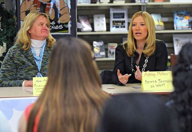 """Ashley Miller, sports journalist at WNYT,  speaks on a panel with other prominent woman leaders in the community at the annual """"Women in Leadership"""" event put on by Girls Take Charge at Shaker Junior High School on Friday, April 24, 2015 in Colonie, N.Y.   (Lori Van Buren / Times Union) Photo: Lori Van Buren / 00031547A"""