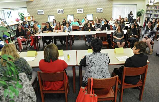 """A panel of prominent woman leaders in the community speaks at the annual """"Women in Leadership"""" event put on by Girls Take Charge at Shaker Junior High School on Friday, April 24, 2015 in Colonie, N.Y.   (Lori Van Buren / Times Union) Photo: Lori Van Buren / 00031547A"""