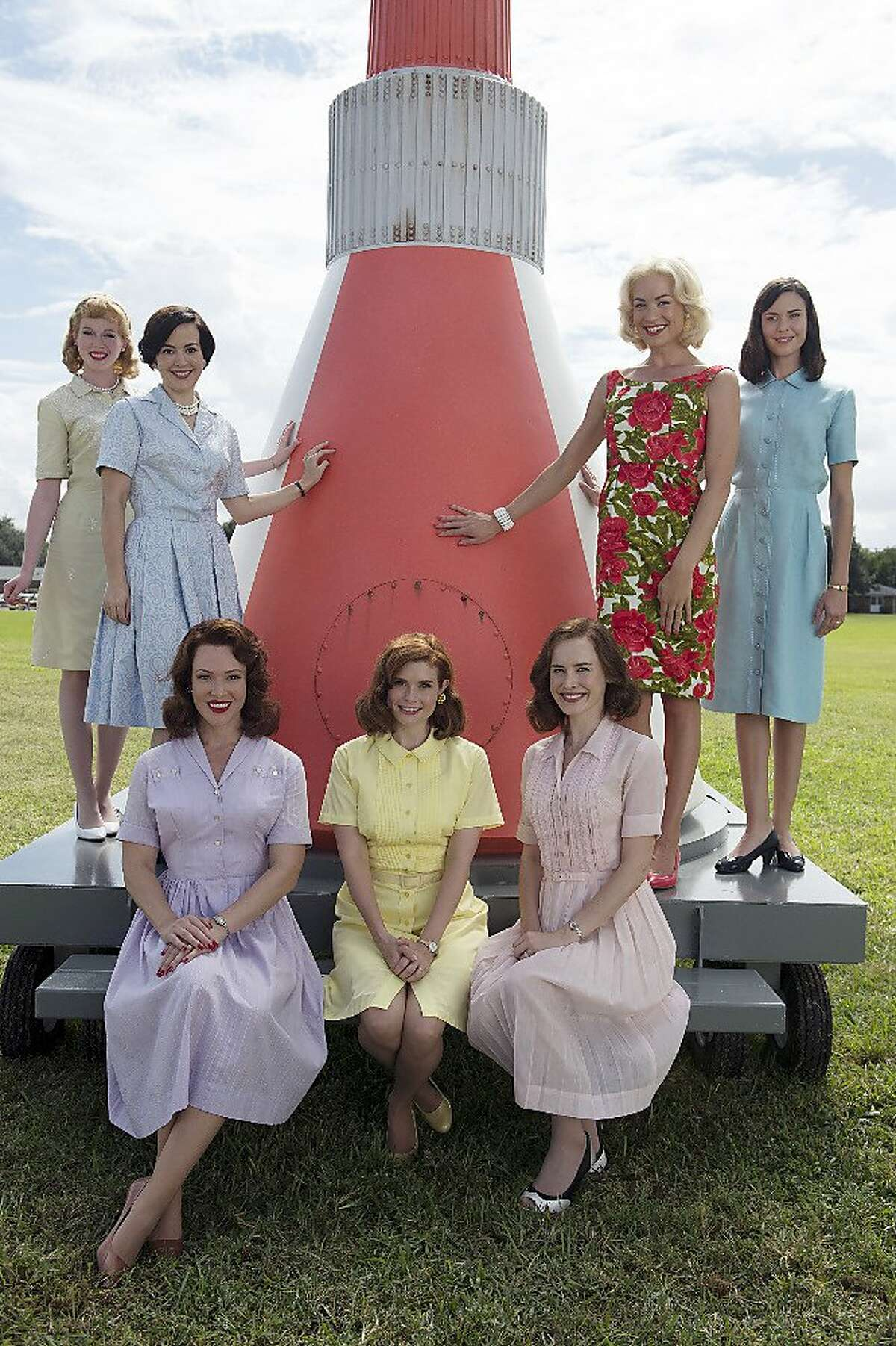 """ABC's """"The Astronaut Wives Club"""" stars Zoe Boyle as Jo Schirra, Azure Parsons as Annie Glenn, Erin Cummings as Marge Slayton, JoAnna Garcia Swisher as Betty Grissom, Dominique McElligott as Louise Shepard, Yvonne Strahovski as Rene Carpenter and Odette Annable as Trudy Cooper. May, 2015 THE ASTRONAUTS WIVES CLUB - ABC's """"The Astronaut Wives Club"""" stars Zoe Boyle as Jo Schirra, Azure Parsons as Annie Glenn, Erin Cummings as Marge Slayton, JoAnna Garcia Swisher as Betty Grissom, Dominique McElligott as Louise Shepard, Yvonne Strahovski as Rene Carpenter and Odette Annable as Trudy Cooper. (ABC/Cook Allender)"""