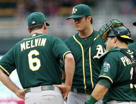 Oakland Athletics pitcher Drew Pomeranz, center, gets a visit to the mound from manager Bob Melvin, left, and catcher Josh Phegley in the second inning of a baseball game against the Minnesota Twins, Thursday, May 7, 2015, in Minneapolis. (AP Photo/Jim Mone)