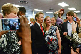 Kentucky Sen. Rand Paul visits with supporters during an event in Grand Rapids, Mich., this week. He will be in San Francisco on Saturday for a tech gathering and to open a campaign office.