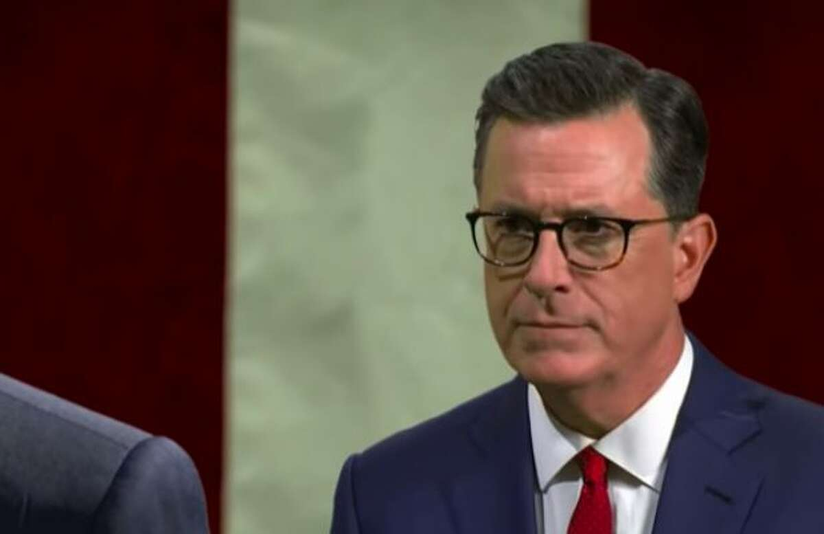 Stephen Colbert ripped Donald Trump for his demeanor at the George H.W. Bush funeral service.