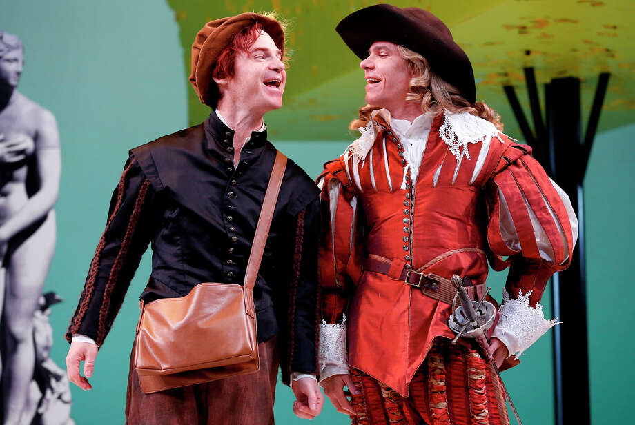 """Aaron Krohn, right, as Dorante, the title character in """"The Liar"""" at the Westport Country Playhouse, with Rusty Ross. The season opener at the playhouse runs through May 23. Photo: Contributed Photo / Westport News"""