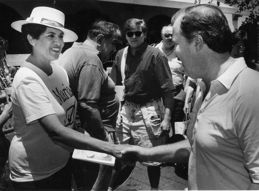 'Maria' campaigns for mayor at Market Square during the Chili Queens Festival, 1991.