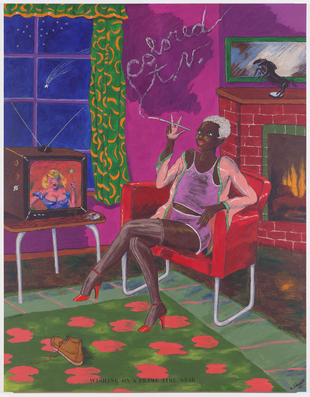 """""""Colored TV"""" (1977), left, is an acrylic on canvas by Robert Colescott."""