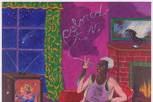 """Colored TV"" (1977), left, is an acrylic on canvas by Robert Colescott."