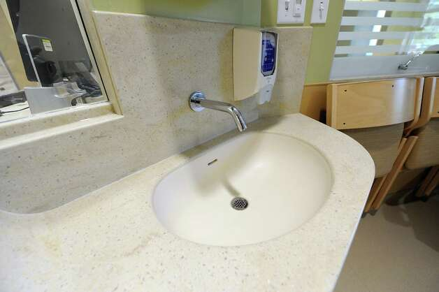 Sink with automatic no-touch sensor in a patient's room in the new Marylou Whitney and Desmond DelGiacco, MD Intensive Care Unit at Saratoga Hospital on Thursday, May 7, 2015 in Saratoga Springs, N.Y. (Lori Van Buren / Times Union) Photo: Lori Van Buren / 00031673A