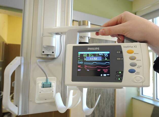 Smaller monitor in a patient's room in the new Marylou Whitney and Desmond DelGiacco, MD Intensive Care Unit at Saratoga Hospital on Thursday, May 7, 2015 in Saratoga Springs, N.Y. This monitor is removable and can travel with the patient in the bed if they have to go have test done. (Lori Van Buren / Times Union) Photo: Lori Van Buren / 00031673A