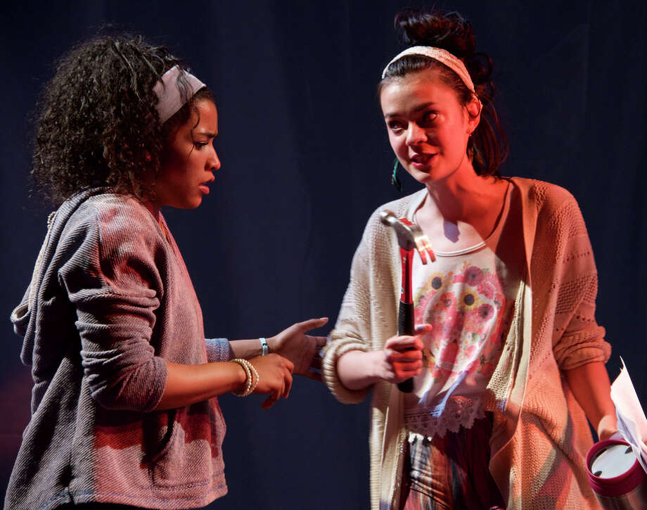 Taylor Jones (left) and Aily Roper in Lauren Yee's sharp send-up of horror movies and teenage immaturity. Photo: James Faerron / ONLINE_YES
