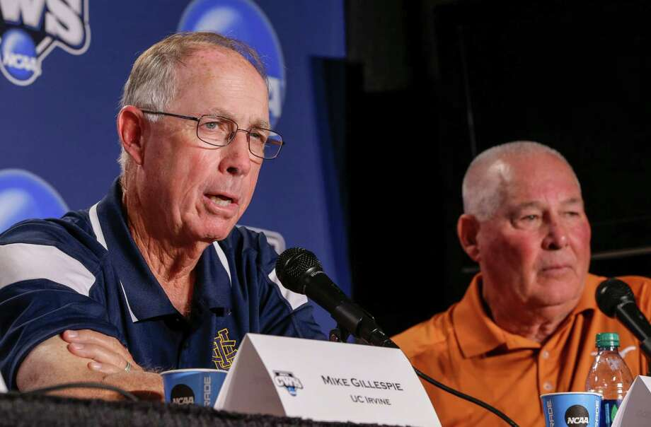 UC Irvine coach Mike Gillespie, left, and Texas coach Augie Garrido participate in a coaches news conference, Friday, June 13, 2014, ahead of the NCAA baseball College World Series tournament which starts at TD Ameritrade Park in Omaha, Neb., on Saturday. Texas and UC Irvine play on Saturday. (AP Photo/Nati Harnik) Photo: Nati Harnik, STF / AP