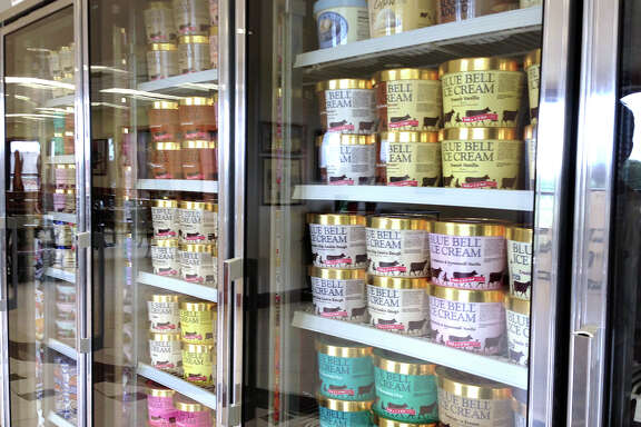 Blue Bell cartons remain on display at the creamery in Brenham. However, no Blue Bell ice cream products are being sold there or anywhere else for at least several months, the company says.