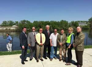 The endorsed Republican slate in Troy, standing, left to right, are Councilman Jim Gordon, mayoral candidate;  and City Council candidates Jim Gulli in the 1st District; Mark McGrath in the 2nd District; Councilman Dean Bodnar in the 3rd District; Tom Casey in the 5th District; John Donohue in the 6th District; and at-large candidates Andrea Daley and William Dowd. (Kenneth C. Crowe II/Times Union)