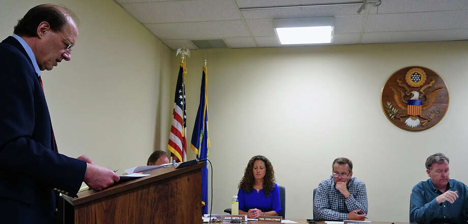 Chief Fiscal Officer Bob Mayer takes the Board of Finance through the calculations for setting the town's tax rate Thursday. Photo: Genevieve Reilly / Fairfield Citizen