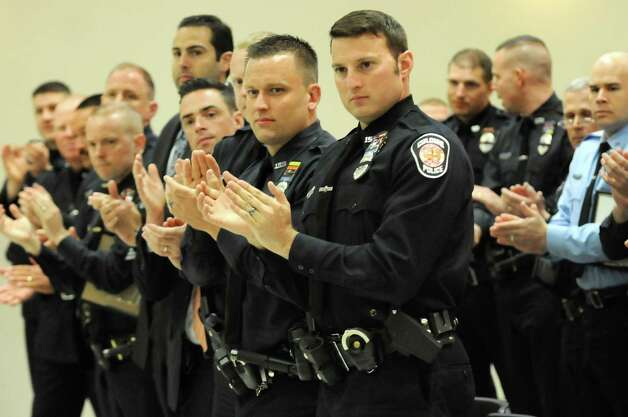 Members of the Colonie Police Department applaud Chief Steven Heider during their awards ceremony on Thursday, May 7, 2015, at the Colonie Public Safety Building in Colonie, N.Y. (Cindy Schultz / Times Union) Photo: Cindy Schultz / 00031750A